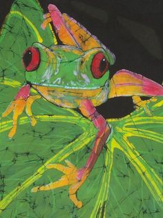 Tree frog by Kay Shaffer. Textile fine art Batik.