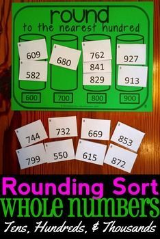Rounding Sort!  Great game to practice rounding whole numbers to the tens, hundreds, and thousands.  Includes both rounding to the greatest place and rounding to any place.  Game includes 12 different versions!  3.NBT.A.1 and 4.NBT.A.3