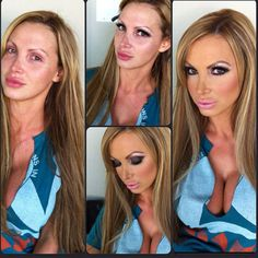 "Porn stars before and after in the makeup chair. A really good example of the high expectations that are placed on women and what does/does not constitute ""natural beauty. I often view pictures like this as a reminder that most if not all actresses and models are very done-up and airbrushed, which is something I personally need to do, since I often feel less attractive because I have normal, ""imperfect"" skin."