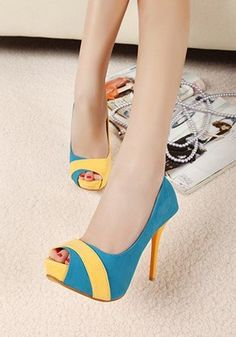 Free Shipping (Wholesale DropShip Retail)2012 New Elegant Style Color Block Fish Mouth Hight Heel Pump Blue/Red-in Pumps from Shoes on Aliexpress.com