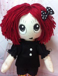 10 Happy Ruby Gloom cloth doll with bernat by theStudioGiftShop