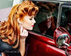 red hair, pinup, rolls