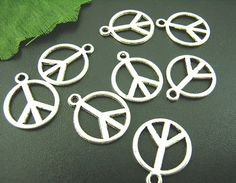 ON SALE 50% OFF - 10 Antique Silver Coloured Peace Sign Charm Pendant 14mm - Pack of 10