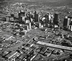 1979 Aerial View of Downtown Dallas, Texas from Northwest.  Notice Highway Construction not yet complete.  Photo courtesy imgur.com