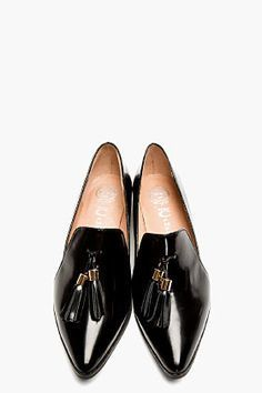 Tendance Chaussures 2017/ 2018 : Jeffrey Campbell Black Buffed Leather Pointed Blane Loafers for women | SSENSE