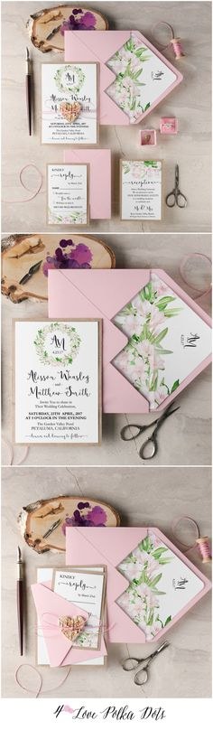 Rustic Pink Wedding Invitations with birch bark heart tag #pink #rustic #weddinginvitations #wedding #floral #flowers #botanical