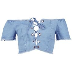 Boohoo Sally Lace Up Bardot Denim Crop Top ($36) ❤ liked on Polyvore featuring tops, blue crop top, lace up front crop top, lace up crop top, cropped tops and lace-up tops