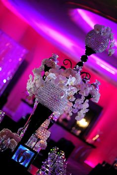 Wedding Decor Tips From Wedding Planner Tiffany Nieves-Cook Wedding planner Tiffany Nieves-Cook, of Dream Design Weddings and Events , kn. Wedding Reception Lighting, Event Lighting, Reception Party, Uplighting Wedding, Reception Rooms, Wedding Receptions, Platinum Wedding, Purple Wedding, Dream Wedding