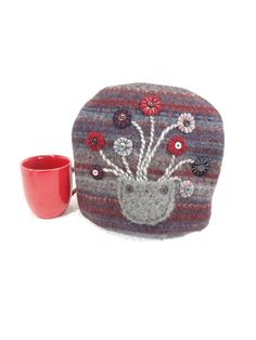 Primitive tea cozy Felted wool sweater Gray marsala teacosy Fair Isle knit cozy Button flowers Country cabin decor OOAK teapot cozy