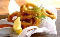 Garlic and Herb Crumbed Calamari with Savoury Rice