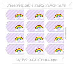 You'll love these fun pastel purple diagonal striped rainbow party favor tags that you can personalize and use as party favor tags or gift tags. Rainbow Party Favors, Rainbow Unicorn Party, Rainbow Birthday Party, Rainbow Theme, 6th Birthday Parties, 4th Birthday, Birthday Tags, Birthday Favors, Rainbow Sayings