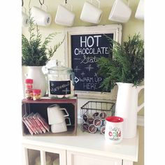 Hot cocoa station! Hot chocolate bar! So cute!