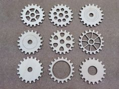 Cogs Set Wooden Cog Cutouts x A set of 9 mechanical laser cut wooden cog shapes. These are super quailty, cut from our best birch plywood. Perfect for Steampunk projects! Wooden Craft Shapes, Wooden Crafts, Cogs, Fabric Crafts, Mary Stuart, Projects, Gifts, Display Ideas, Craft Ideas