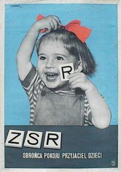 Designer: Tadeusz Trepkowski. Year 1953. Title: The USSR, Defender of the Peace, Friend of Children.