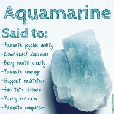 The crystal of the week is Aquamarine. ☺️ I would love to know if you've had significant experiences with this crystal or you have extra… Crystal Healing Stones, Stones And Crystals, Minerals And Gemstones, Crystals Minerals, Aquamarine Crystal, Crystal Guide, The Good Witch, Crystal Meanings, Crystals