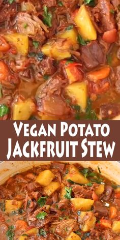 A hearty, delicious and healthy vegan potato stew with meaty jackfruit, carrot, smoky spices and tomatoes that will make you go back for seconds and lick your bowls clean. Best served with garlic bruschetta to mop up all tha t tasty plant-based gravy. Vegan Stew, Vegan Soups, Vegan Dishes, Vegan Bibimbap, Vegan Vegetable Soup, Vegan Chili, Vegetable Dishes, Vegan Dinner Recipes, Whole Food Recipes