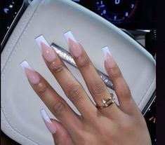 for repost💓💅🏾 . French Tip Acrylic Nails, Square Acrylic Nails, Best Acrylic Nails, Nail Swag, Tapered Square Nails, Cute Acrylic Nail Designs, Aycrlic Nails, Bling Nails, Gel Nails