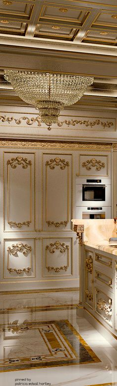 Access luxury kitchen design photo gallery from top interior designers. From custom made, modern and traditional find it all here - FREE! Classic Interior, Luxury Interior, Ivory Kitchen, Mediterranean Kitchen, Ceiling Design, Ceiling Ideas, Luxury Kitchens, Elegant Homes, Luxury Living