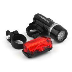 방수 자전거 자전거 조명 5 LEDs 자전거 자전거 전면 헤드 라이트 + 안전 후면 손전등 토치 램프 헤드 라이트 액세서리