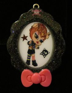 Resin Jewelry Black Holographic Cameo Style Monster Toralei Chibi Goth High School Student Handmade OOAK Charm Necklace Pendant by chalupascornernook
