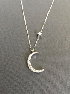 Silver Rhodium plated Crescent Moon and Star necklace by Muse411