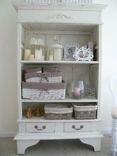 Off White French Provincial Style Bookshelf or Display Cabinet Distressed Rustic