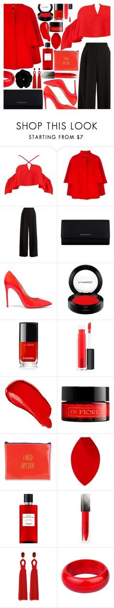 """""""#37 Black and Red"""" by heartsandcrossesx ❤ liked on Polyvore featuring Boohoo, Gianluca Capannolo, RED Valentino, Givenchy, Casadei, MAC Cosmetics, Chanel, Burberry, In Fiore and Morphe"""