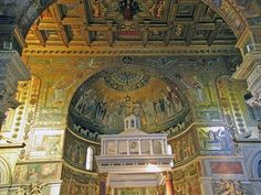 Santa Maria in Trastevere. One of my favorite places in Rome. All pagan mixed with christian, ruins mixed with new...