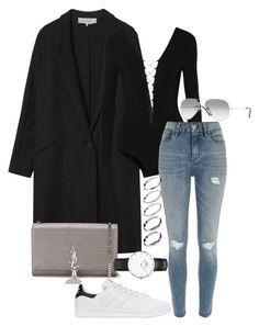 """""""#678"""" by blendingtwostyles ❤ liked on Polyvore featuring Gérard Darel, T By Alexander Wang, River Island, Yves Saint Laurent, Ray-Ban, ASOS, adidas Originals and Daniel Wellington"""