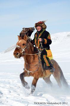 Hunter with Eagle Mongolia Asian