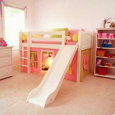 kinderzimmer mädchenzimmer spielbett weiße rutsche