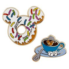 Start your day with this refreshingly cute Donut and Tea Breakfast Mickey Mouse Pin Set. Colored sprinkles that decorate the top of the Mickey-shaped donut and a Mickey-shaped swirl of milk make this a delicious addition to any Disney pin collection. Disney Dream, Disney Fun, Disney Trips, Disney Magic, Disney Parks, Walt Disney, Disney Stuff, Disney Pin Trading, Mickey Mouse Pins