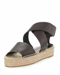SPRING 2014 - Elise Espadrille Flat Sandal, Black by Vince at Neiman Marcus.