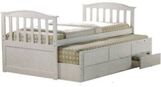 The perfect bed for siblings sharing a room or for the occasional sleepover, the Captain's Bed has one fixed bed and a slide-out trundle to provide two-sized sleeping areas. The three storage drawers add storage space to this convenient, modern bed.