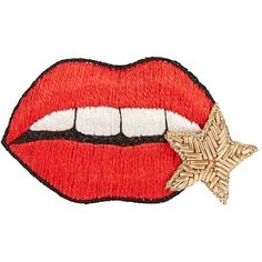 Huda Al Nuaimi Embroidered lips brooch ($71) ❤ liked on Polyvore featuring jewelry, brooches, accessories, embroidery jewelry, lip jewellery, lip jewelry and embroidered jewelry