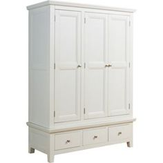 - - Homebase - Out of stock - Venice 3 Door Triple Wardrobe - White. Triple Wardrobe, Large Wardrobes, Wooden Wardrobe, Clothing Storage, White Bedroom, Soft Furnishings, Armoire, Tall Cabinet Storage, Argos