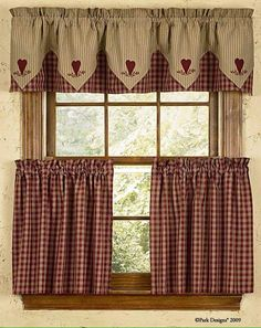 Easy Ideas for Country Curtains Valances : Country Style Curtains And Valances. Country style curtains and valances. Country Kitchen Curtains, Country Style Curtains, Kitchen Window Curtains, Country Decor, Window Valances, Country Charm, French Country, Country Valances, Curtain Valances