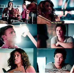 Lmao I love this scene Damon is Hilarious. :) loved Bonnies scared face too Vampire Diaries Funny, Vampire Diaries Cast, Vampire Diaries The Originals, Bonnie Bennett, Lauren Cohan, Ian Somerhalder, Glee, Scared Face, Damon And Bonnie