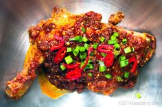 It's Halloween time! The time when people enjoy being scared and dress up as scary figures. Well, if you are into that kind of thing and are wondering what to serve for your Halloween dinner party, look no further; Ayam Setan is your answer. The Devil's in this dish, as the little red hot chili