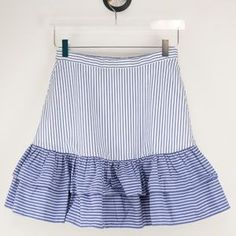 J. Crew Skirts | J Crew Striped Ruffle Skirt Blue White 4 | Poshmark Ruffle Skirt, Blossoms, J Crew, Blue And White, Stripes, Skirts, Cotton, Outfits, Things To Sell
