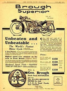 'The Brough Superior - 1924' - Fantastic A4 Glossy Print Taken From A Vintage Motorcyle Ad by Design Artist http://www.amazon.co.uk/dp/B019H4MPLQ/ref=cm_sw_r_pi_dp_qnSCwb14K3N7Q