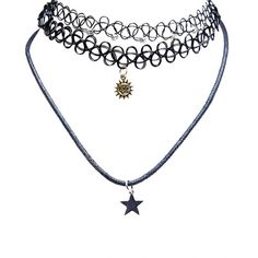 Celestial Charm Choker Trio (€4,06) ❤ liked on Polyvore featuring jewelry, necklaces, accessories, chokers, bijoux, black, cord choker necklace, tattoo necklace, rhinestone choker and choker necklaces