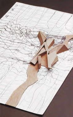 International Relations University Library Model Peter Eisenman 1996 > Drawing to model site plan <