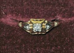 Genuine Victorian 1900-1915 14K Yellow Gold Filigree Diamond Engagement Ring 6.5 #SolitairewithAccents
