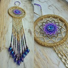 Golden Purple Ombre beaded suncatcher by BeadingsbyBarb on Etsy