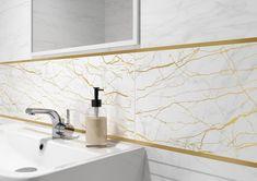 Золотой металлический бордюр в ванной комнате - стильный элемент декора. Бордюр для плитки способен освежить интерьер, подчеркнуть цвет плитки, мебели, добавить акцент #декор#бордюрдляплитки#уютнаякомната#модерн#керамогранит#плитка#золото#трендыдизайна#docor#gold Sink, Home Decor, Sink Tops, Vessel Sink, Decoration Home, Room Decor, Vanity Basin, Sinks, Home Interior Design