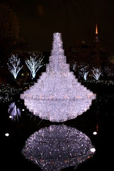 Christmas illuminations in Mouri garden, Roppongi Hills, Tokyo, Japan