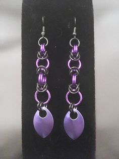 """3.5"""" Black & Purple Chainmail Drop Earrings - Nickel Free - Byzantine Weave - Goth Gothic Emo - French Hook Earrings - Chainmaille Jewellry by JohnsChainmailShop from John's Chainmail Shop. Find it now at http://ift.tt/2oRnCrj!"""