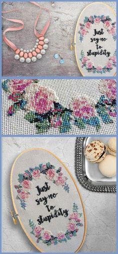 Just Say No Cross Stitch Pattern