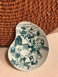 Nymolle Art Faience Nut Dish by Hoyrup Ltd Denmark Vikings in